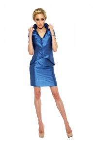 Misty Blue Suit (Jacket & Skirt) - Metallic Blue & Silver Gray